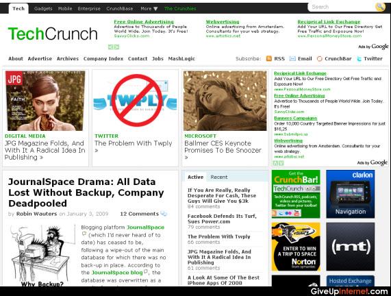 Tech Crunch New Web Design 2009